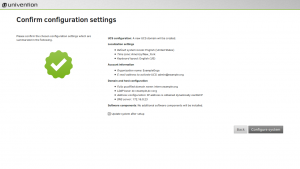 Confirm configuration settings of UCS installation