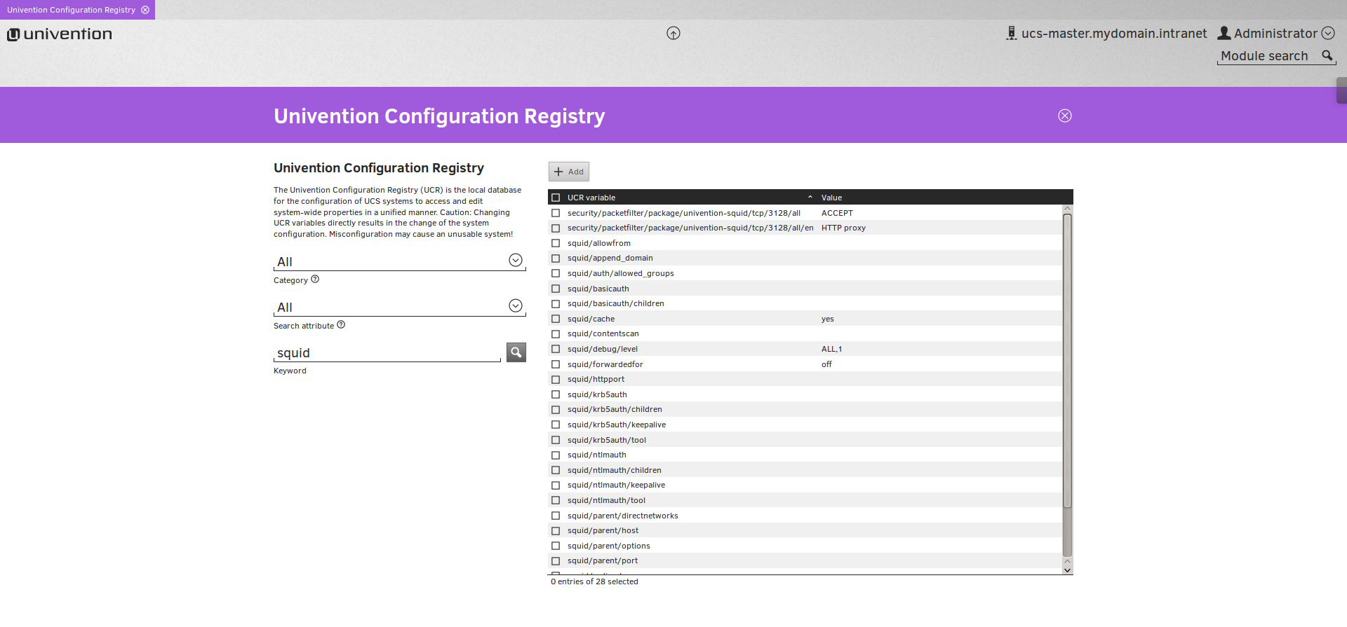 Webproxy Squid in Univention Configuration Registry
