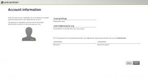 Account information in UCS installation