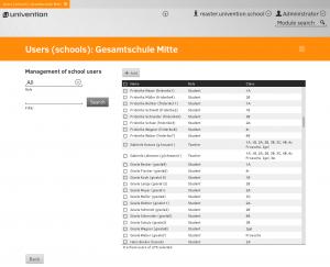 Screenshot UCS@school management of school users