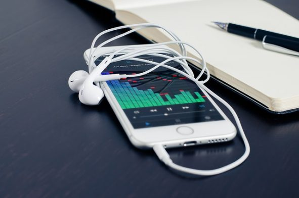 Picture of mobile with earphones