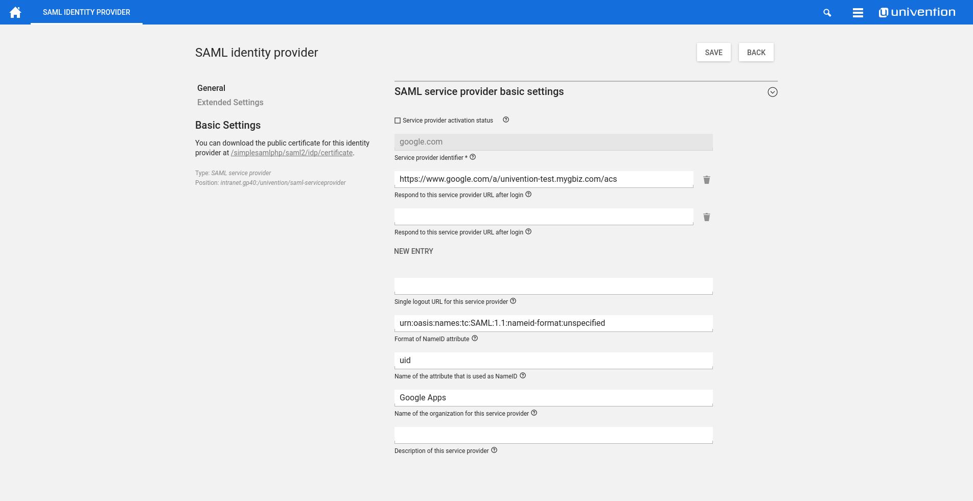 Screenshot SAML Identity Provider UCS 4.2