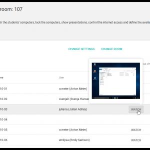 Screenshot UCS@school 4.2 Computer room overview with desktop preview