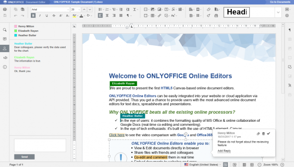 Screenshot von ONLYOFFICE Co-Editing Funktion