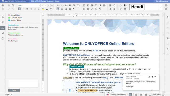 Screenshot von ONLYOFFICE Co-Editing Funktion