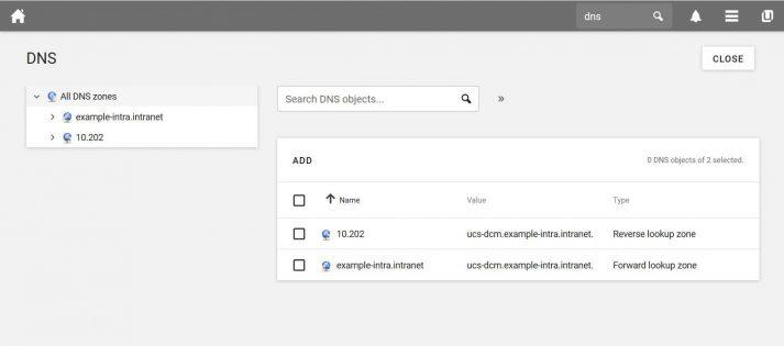 Screenshot of UCS 4.4: DNS
