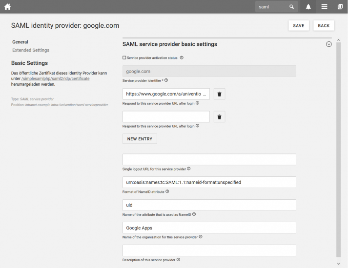 Screenshot of UCS 4.4: SAML Identiy Provider