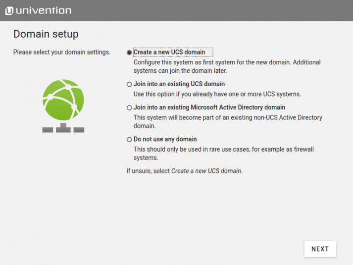 Screenshot of UCS 4.4: Installer Domainrole