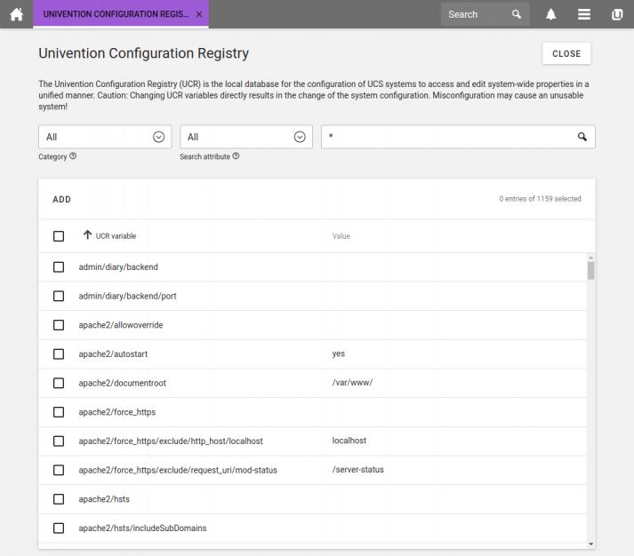 Screenshot of UCS 4.4: Univention Configuration Registry