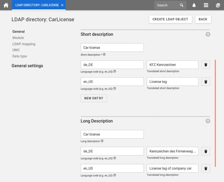 Screenshot UCS 4.4: LDAP extended attribute