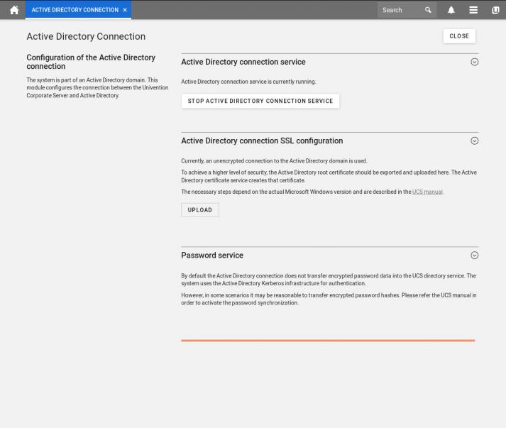 UCS 4.4 Screenshot: Active Directory Configuration