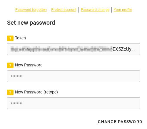 Screenshot: New password self service app UCS