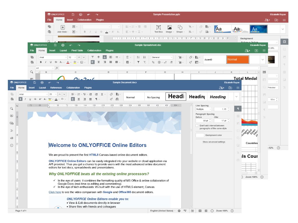 Screenshot: Onlyoffice interface with Tabs