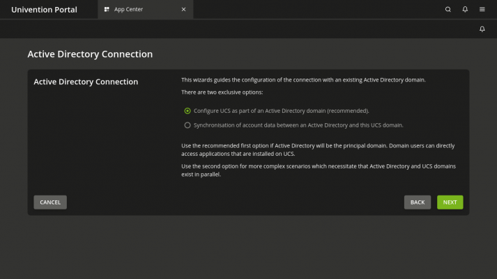 View of Active Directory Configuration with UCS 5