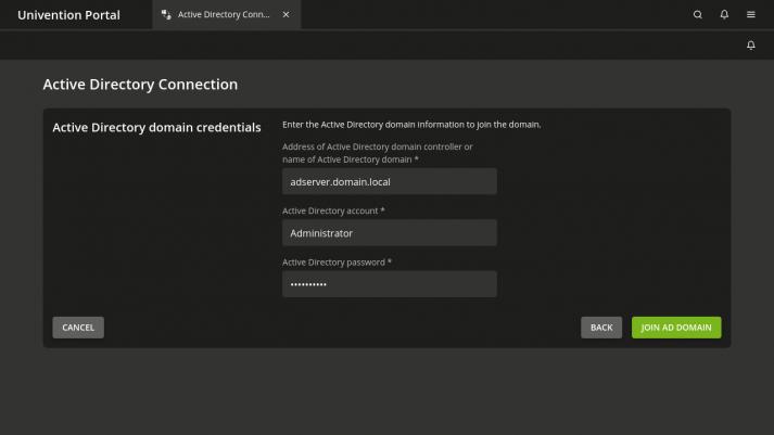 Active Directory domain credentials in UCS 5