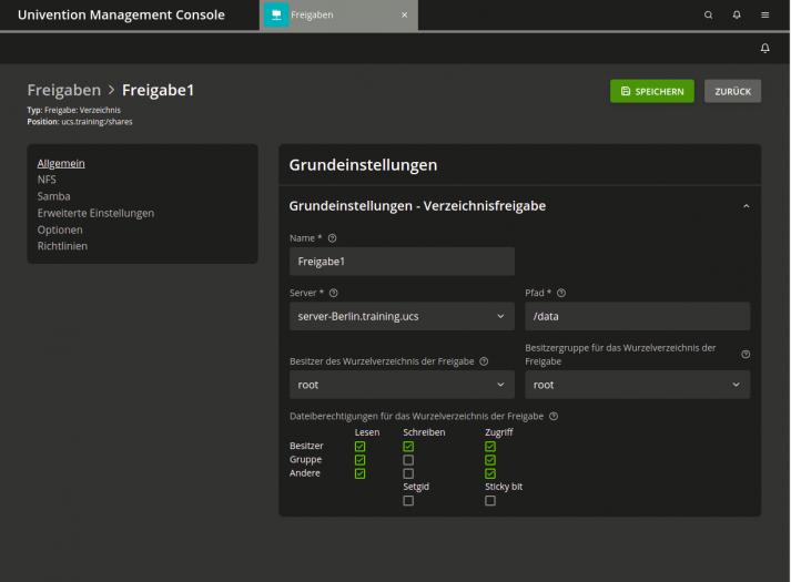 Univention Management Console: Samba-Shares