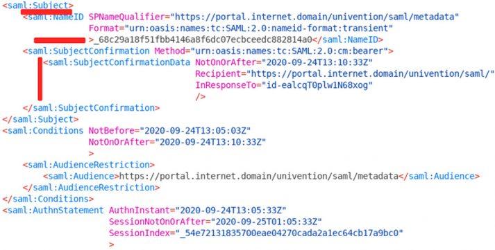 Screenshot Single Sign-on SAML tracer 2